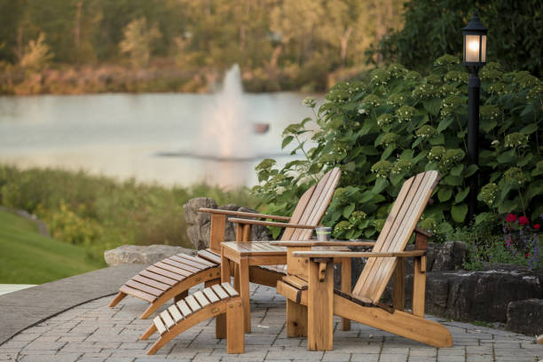 Adirondack Lounge Chairs stock photo