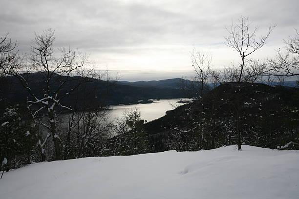 Adirondack Mountain Winter Scene stock photo