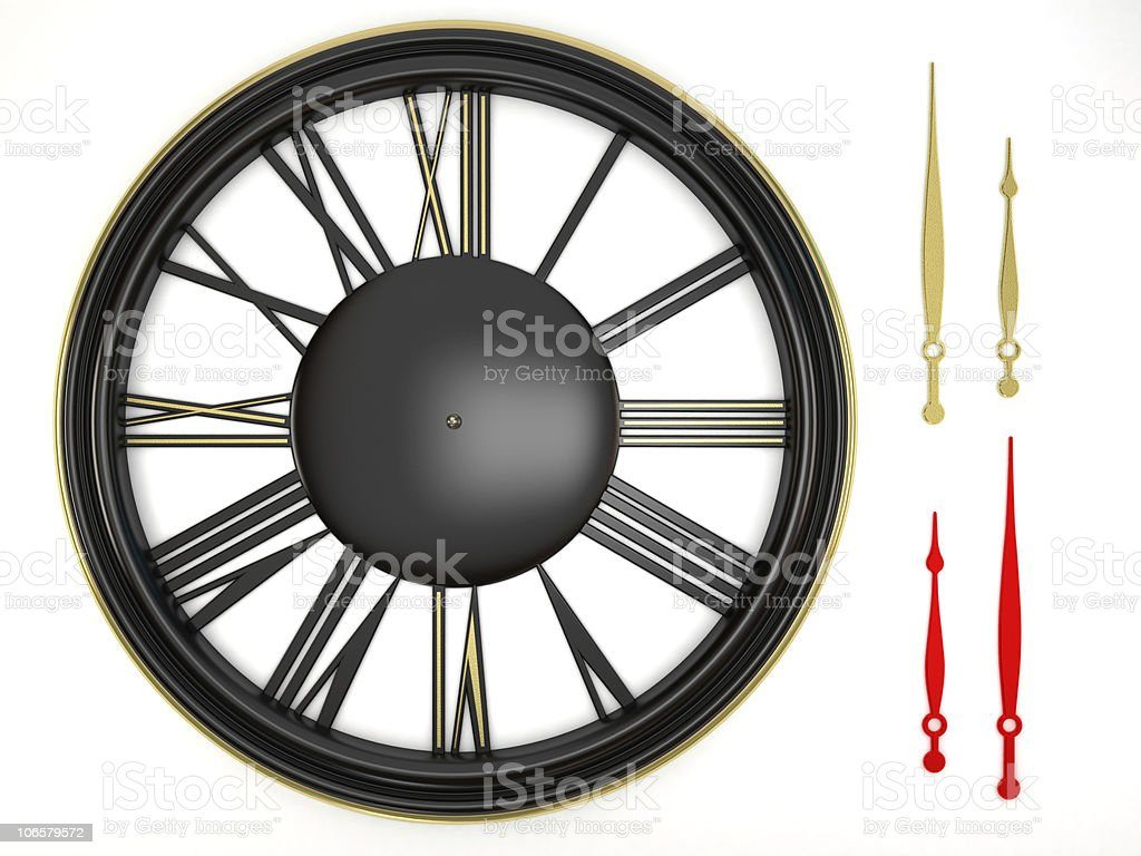 Adjustable clock with isolated pair of hands royalty-free stock photo