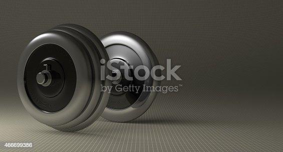 istock Adjustable metallic dumbbell 466699386