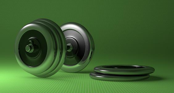 istock Adjustable metallic dumbbell 466699432