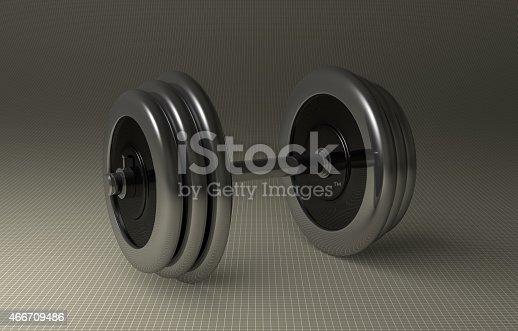 istock Adjustable metallic dumbbell 466709486