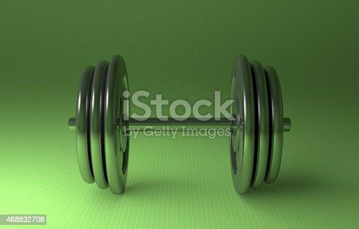 istock Adjustable metallic dumbbell 468832708