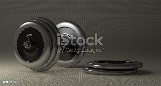 istock Adjustable metallic dumbbell 468832710