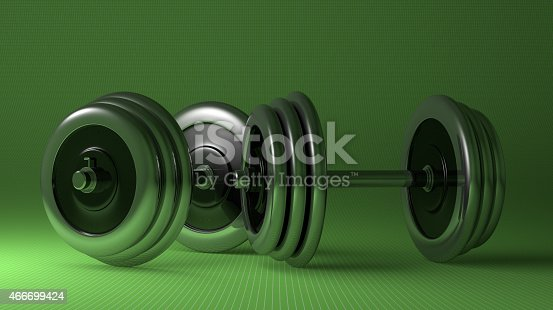 istock Adjustable metallic dumbbells 466699424