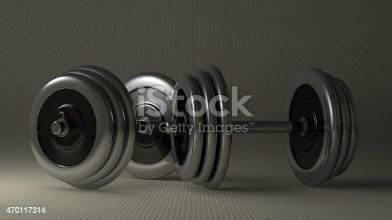 istock Adjustable metallic dumbbells 470117314