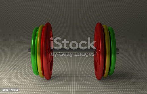 istock Adjustable multicolor dumbbell 466699384