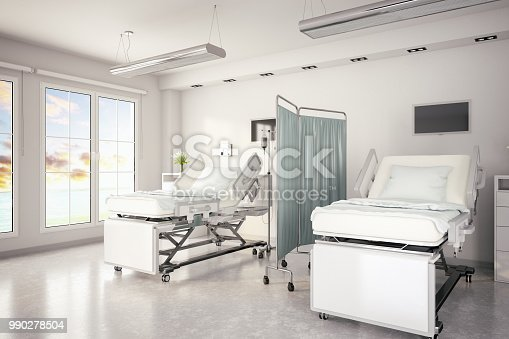Electrical adjustable patient beds in hospital room