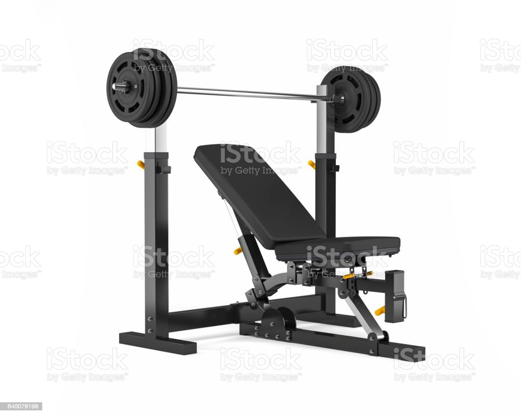 Adjustable Weight Bench Isolated on White Background stock photo