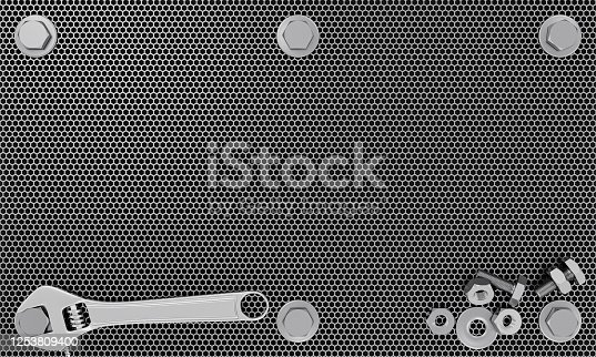 Adjustable wrench on The silver metal plate has bolts and nuts attached to the corners. Nut and bolts placed on a silver metal plate. 3D Rendering.