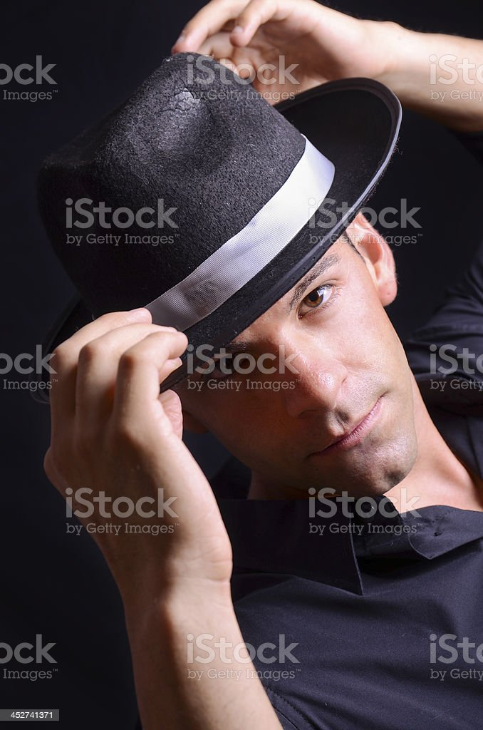 Adjusting Hat stock photo