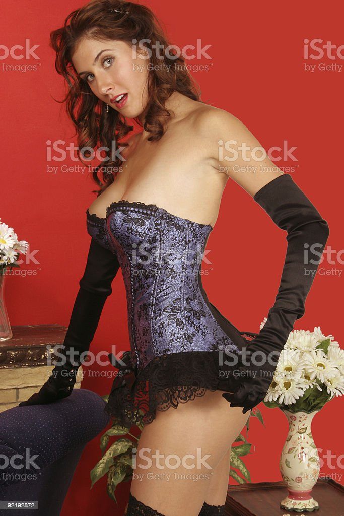 adjusting her ruffles royalty-free stock photo