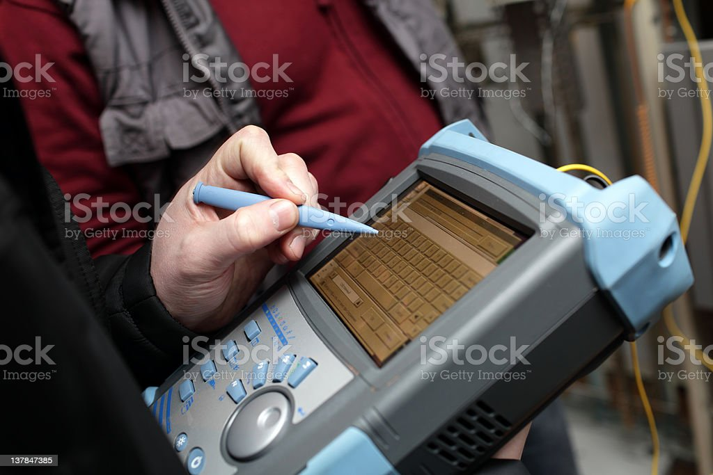Adjusting of reflectometer stock photo