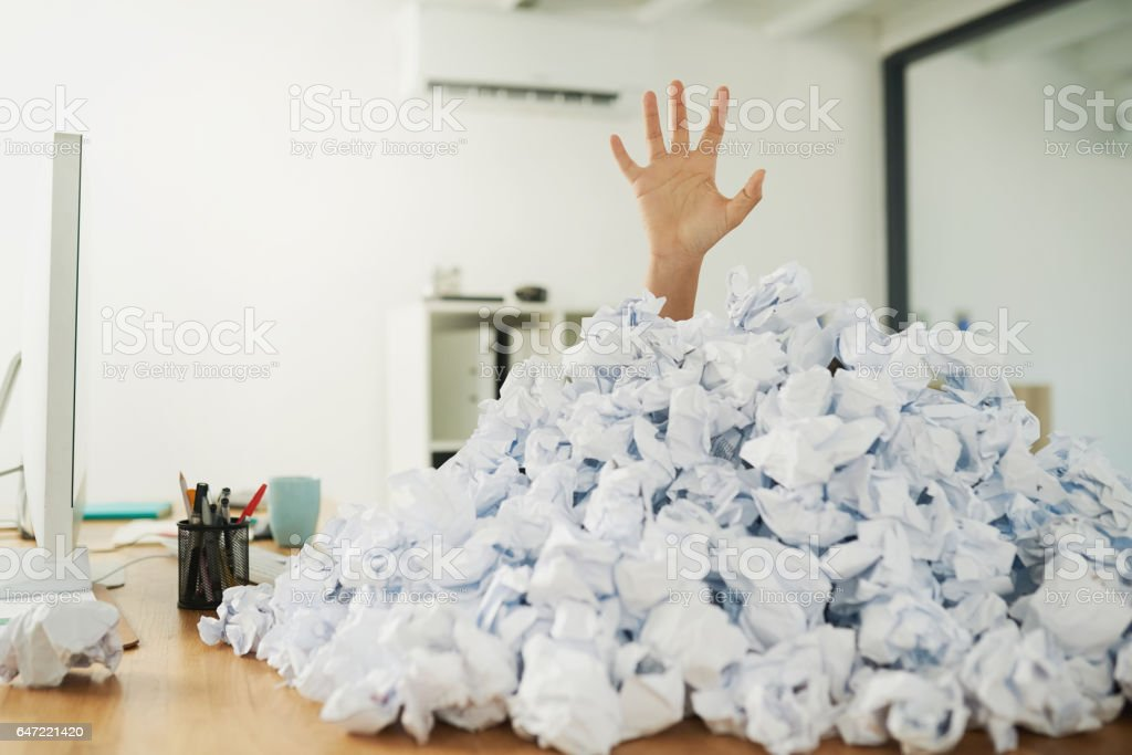Admin can be overwhelming once it piles up stock photo