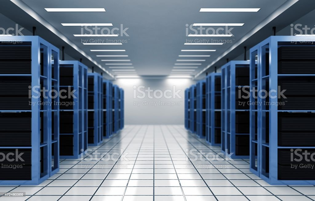 Admin. Programmer in data center room and data file system stock photo