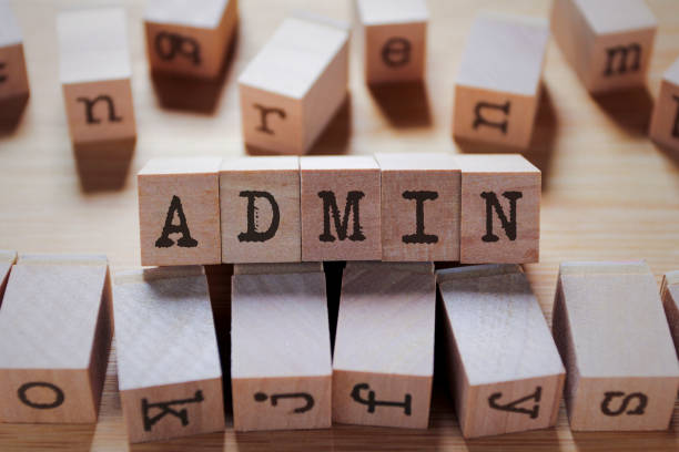 Admin Word In Wooden Stamp Cube stock photo