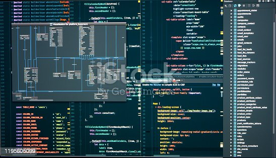 Administration of database for software. Programmer workflow. Database scheme. Integrated Development Environment
