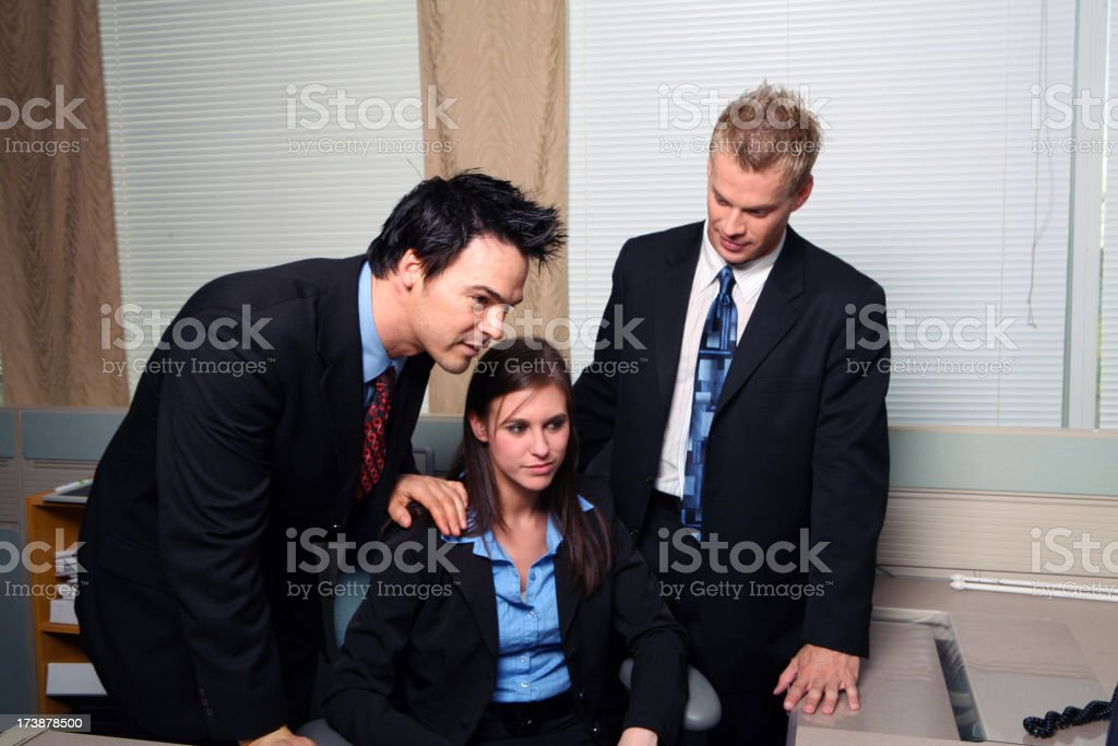 Administrative Assistant and two Touchy Feely Managers royalty-free stock photo