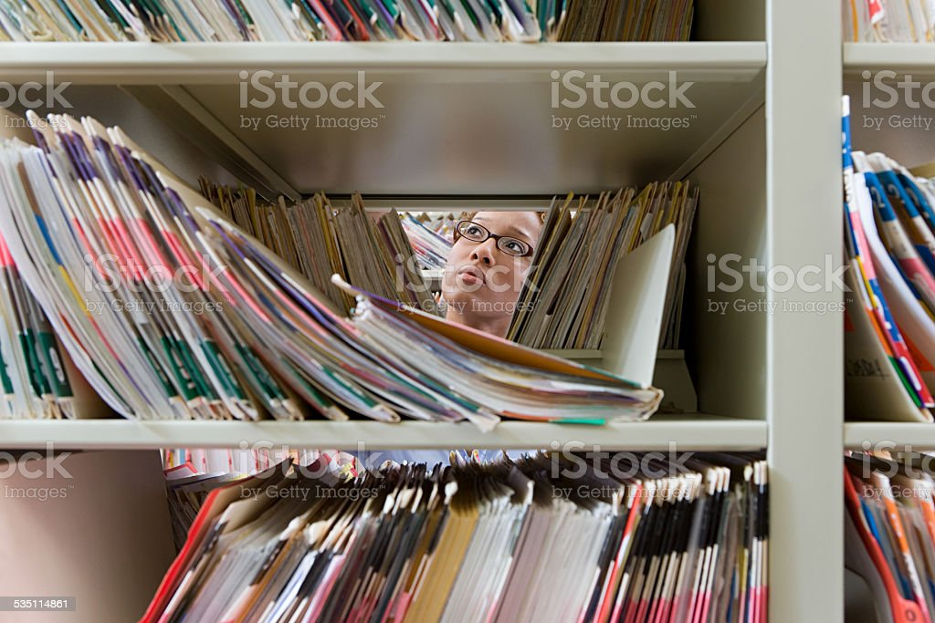 Administrator in archives stock photo