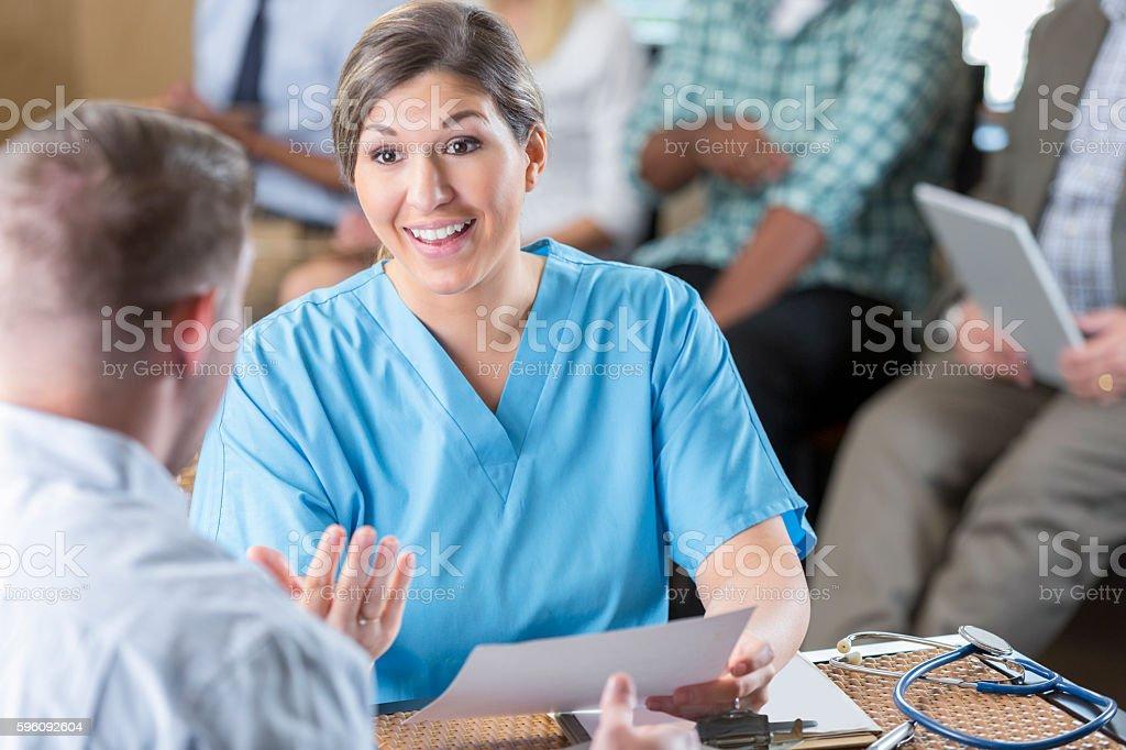 Administrator of hospital nursing staff interviewing potential healthcare employee Lizenzfreies stock-foto