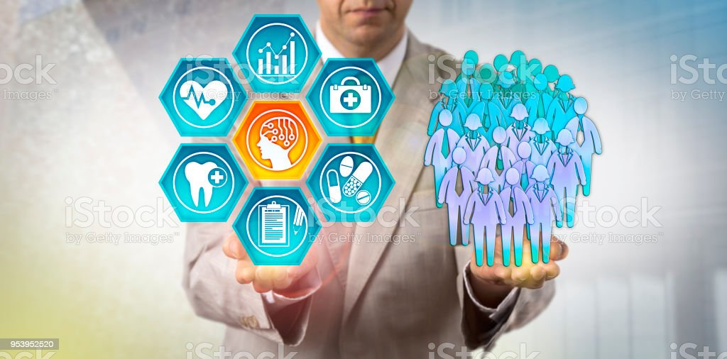 Administrator Using AI In Population Health Study stock photo