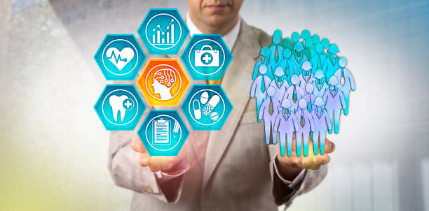Administrator Using AI In Population Health Study Unrecognizable healthcare administrator reviewing health outcomes of a human group via an AI application. Healthcare technology concept for the use of artificial intelligence in population health. well structure stock pictures, royalty-free photos & images