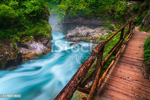 Popular and well known touristic attraction near Bled. Stunning Vintgar gorge with wooden footbridge and emerald color Radovna river, near Bled, Gorje, Slovenia, Europe