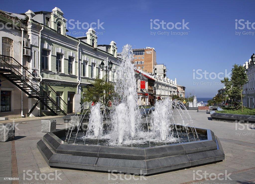Admiral Fokin street in Vladivostok. Russia stock photo
