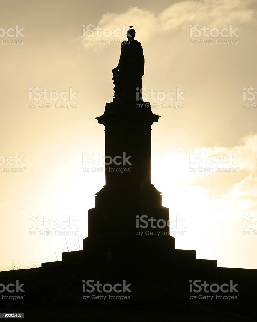 Admiral Lord Collingwood statue silhouette (with seagull on head stock photo