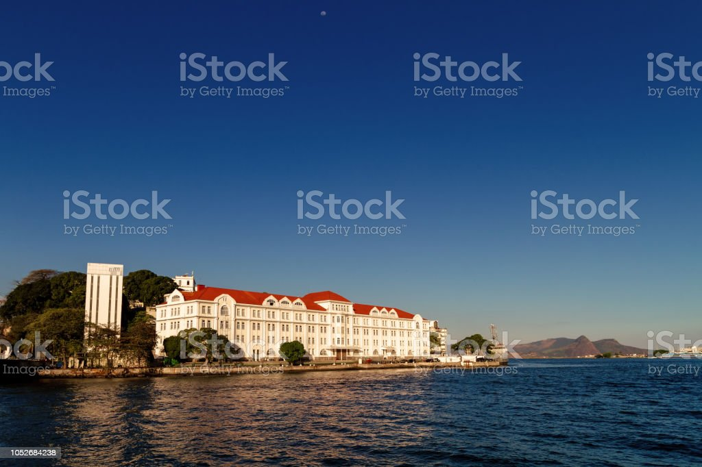 Admiral Motta building during sunset in the port area of Rio de Janeiro, Brazil stock photo