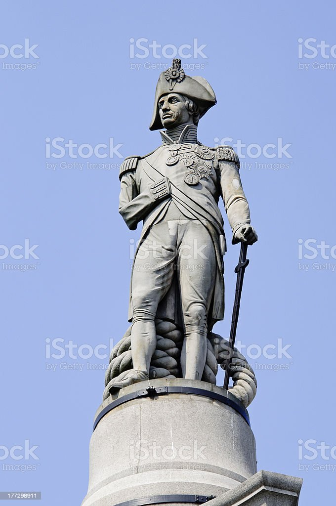 Admiral Nelson statue in London stock photo
