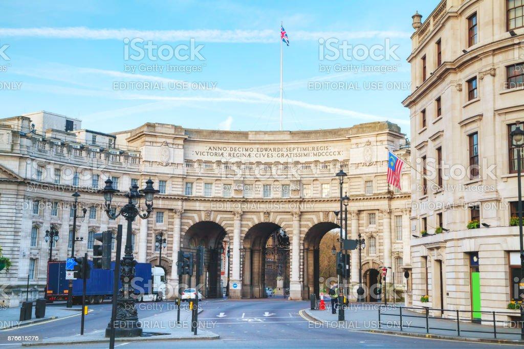 Admiralty Arch near Trafalgar Square in London stock photo