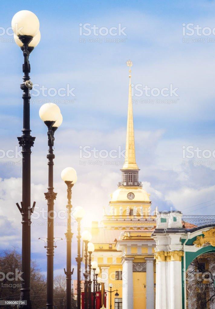 Admiralty Golden Tower, Saint Petersburg, Russia stock photo