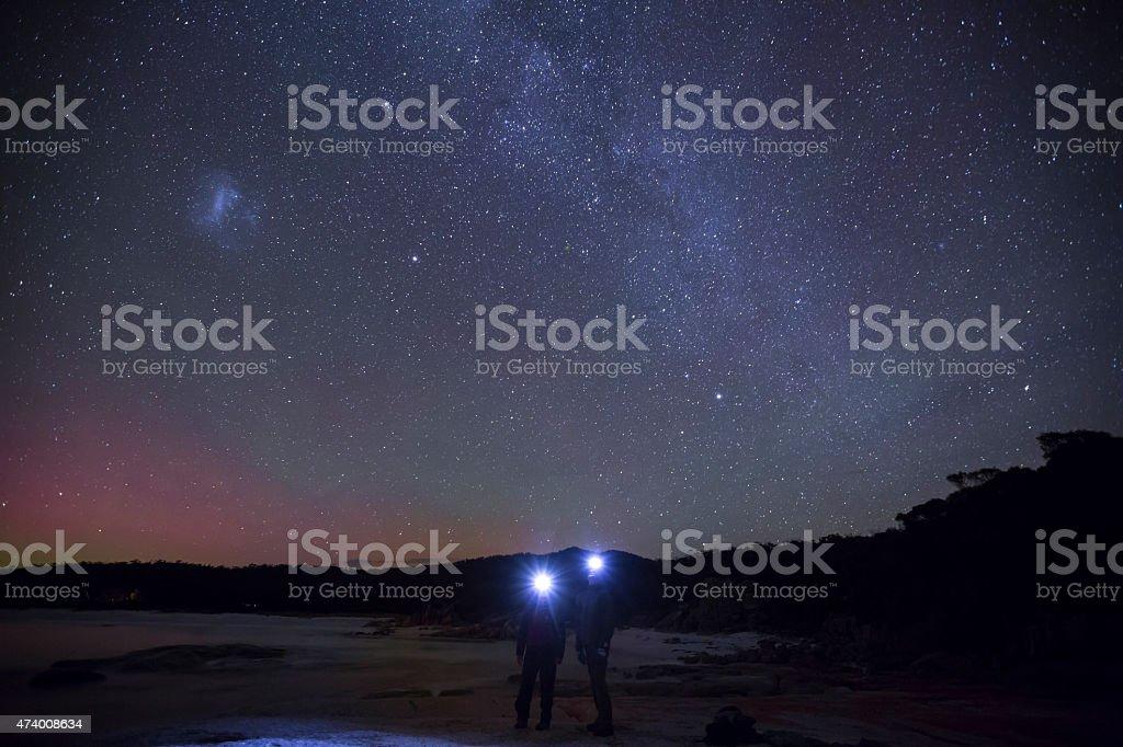 admireres of the Milky Way and Aurora Australis stock photo