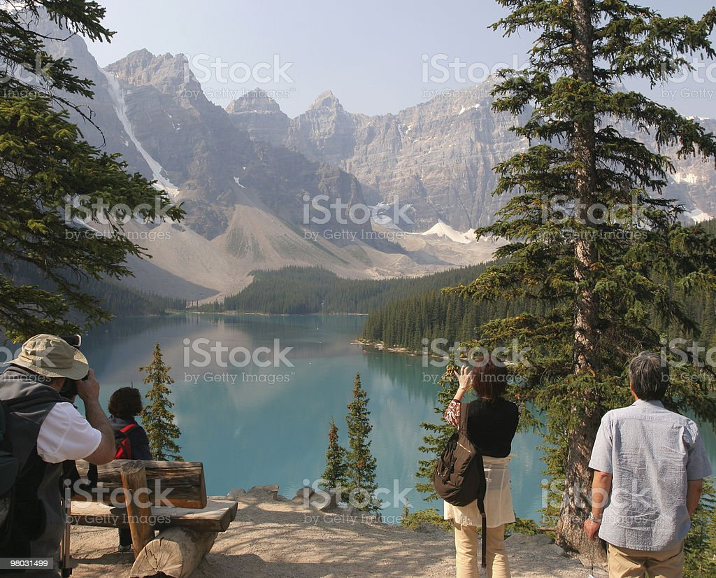 Admiring Lake Moraine, Rocky Mountains royalty-free stock photo