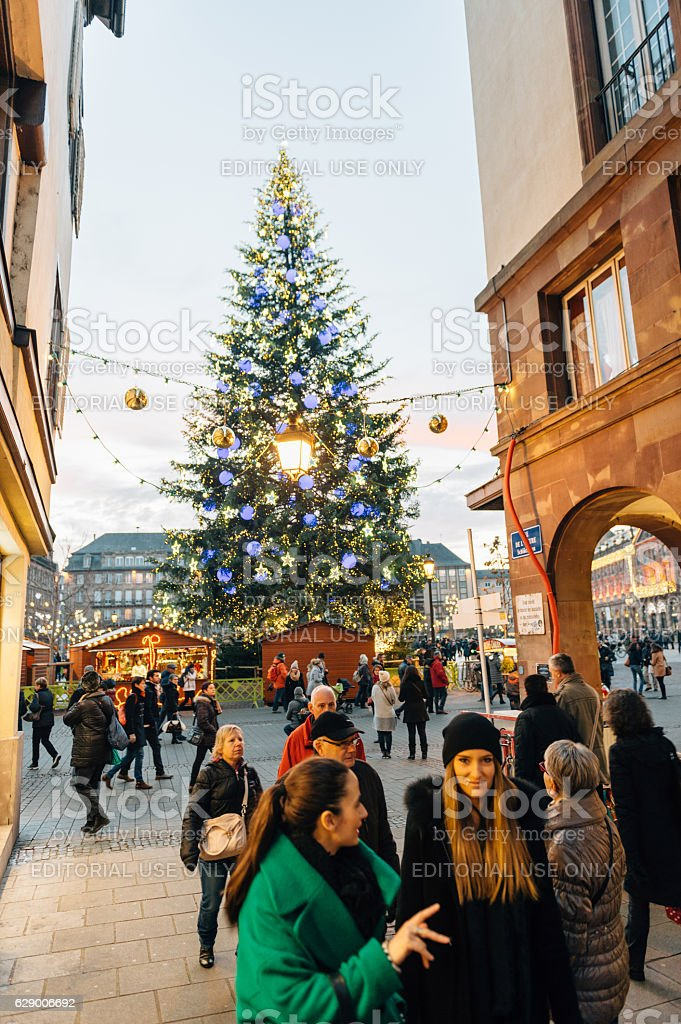 Majestic Christmas.Admiring Majestic Christmas Tree In City Stock Photo