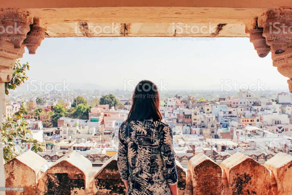 Admiring the City of Udaipur stock photo