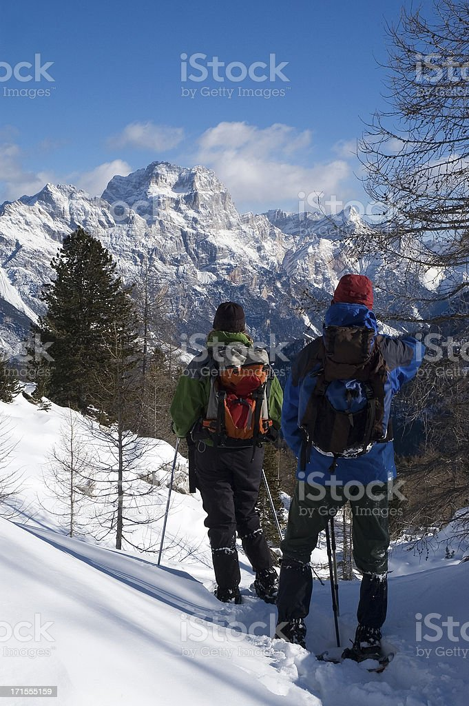Admiring the Dolomites stock photo