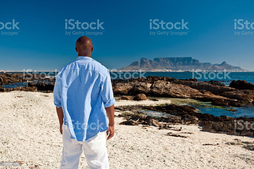 Admiring the Table Mountain  Admiration Stock Photo