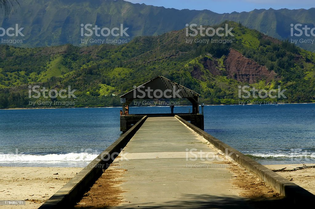 Admiring View of Hanalei Bay royalty-free stock photo