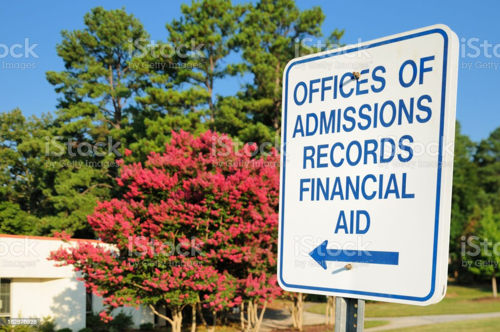 Admisions and financial records aid sign stock photo
