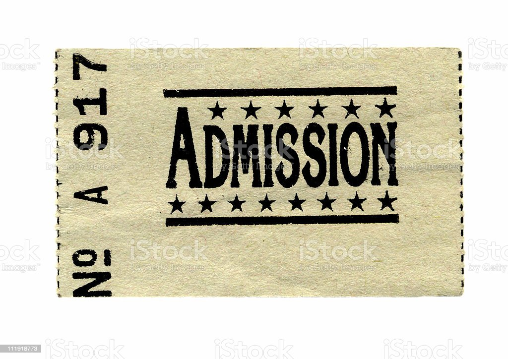 Admission Ticket Isolated on White royalty-free stock photo