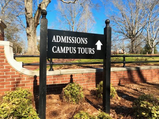 Admissions campus tour sign stock photo