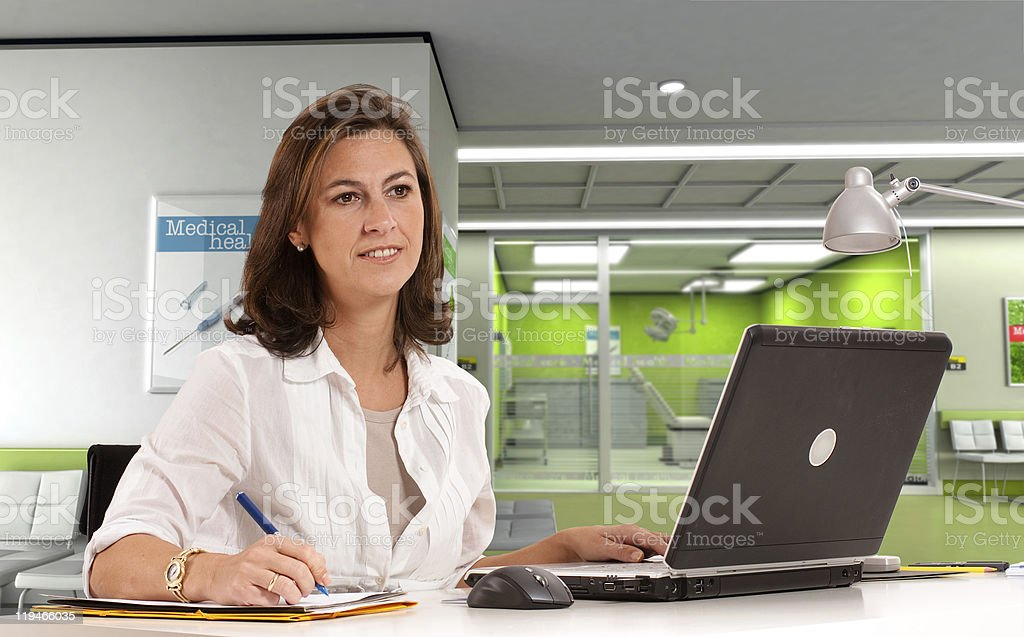 Admissions desk at the clinic stock photo