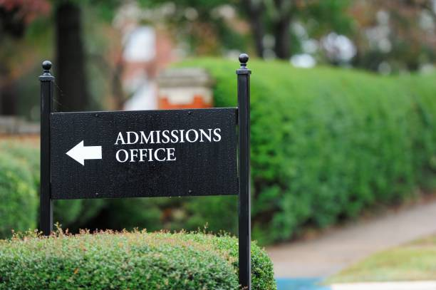 Admissions office sign stock photo
