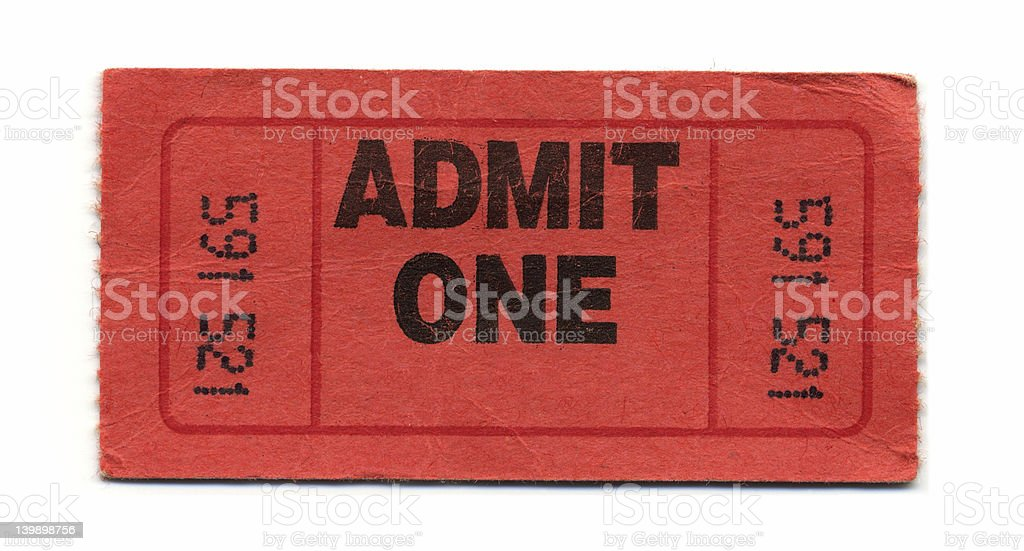 Admit One Ticket (Red) stock photo