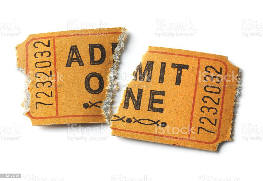 Admit One Ticket torn in half, isolated royalty-free stock photo
