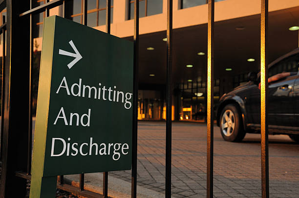 Admitting and Discharge Sign at Hospital stock photo