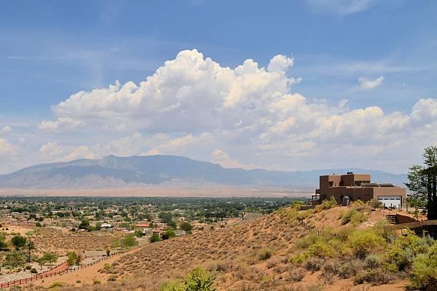 Adobe architecture style house in Albuquerque, New Mexico stock photo