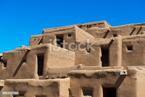 Taos Pueblo, New Mexico, continuously inhabited for over 1000 years. Buildings made out of Adobe.
